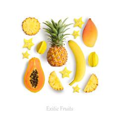 Fresh exotic fruits isolated on white