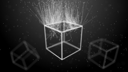 Block chain network concept. Big Data. Background made of line, circles and particles. 4k rendering.