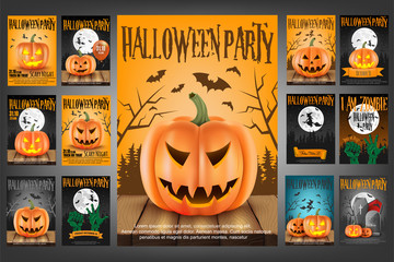 set of 13 scary poster for halloween party.vector illustration