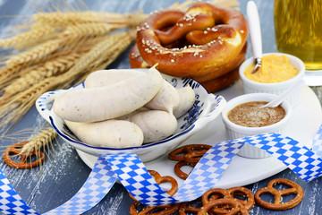Weißwurst, Senf,Brezel,