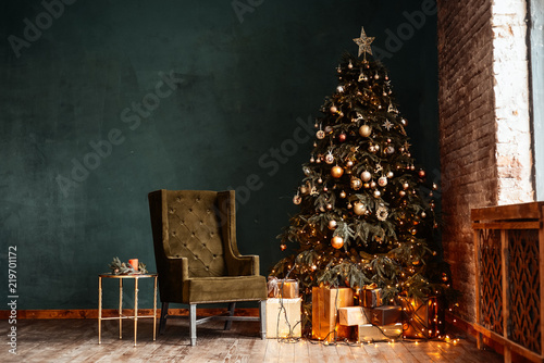new year background christmas room interior of loft light gifts candles and