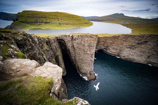 Sørvágsvatn or Leitisvatn is the largest lake in the Faroe Islands.