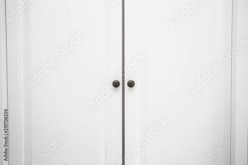 White Wooden Closet Doors Close Up Background Texture