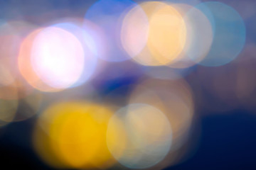 Abstract background selective focus bokeh lights of big city