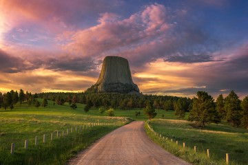 Devils Tower, scenic sunrise, Wyoming
