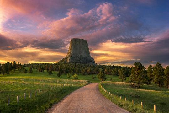 Devils Tower, scenic sunrise, Wyoming