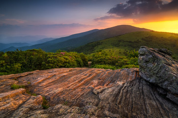 Photo sur Plexiglas Cappuccino Summer sunset along Appalachian Trail, Tennessee