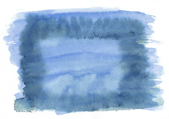 Sea blue horizontal watercolor gradient hand drawn background. Middle part is lighter than other sides of image