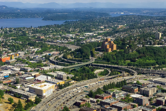 Aerial view of the Interstate 5 expressway in Seattle, the International District, Atlantic, North Beacon Hill, Mt Baker and Lake Washington, USA.