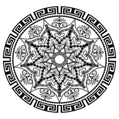Black and white round floral greek vector mandala pattern. Ancie