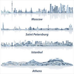 Fototapete - vector cities skylines of Moscow, Saint Petersburg, Istanbul and Athens in soft blue color palette