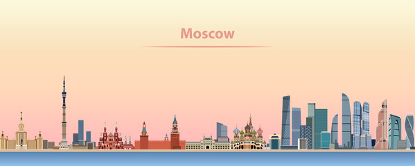 vector illustration of Moscow skyline at sunrise