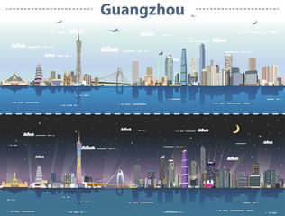 Fototapete - vector abstract illustration of Guangzhou  skyline at day and night