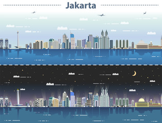 Fototapete - vector illustration of Jakarta skyline at day and night