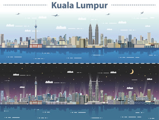 Fototapete - vector illustration of Kuala Lumpur skyline at day and night