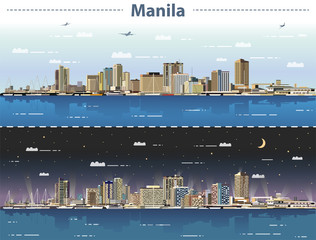 Fototapete - vector illustration of Manila skyline at day and night