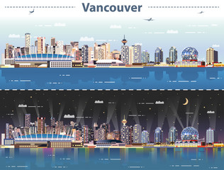 Fotomurales - vector abstract illustration of Vancouver at day and night