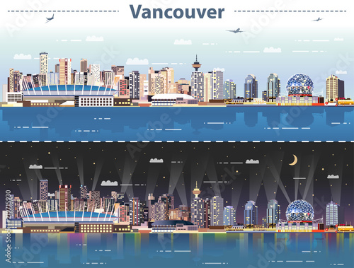 Fototapete vector abstract illustration of Vancouver at day and night