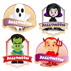 halloween cartoon characters label