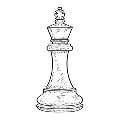 Retro sketch of a king chess piece