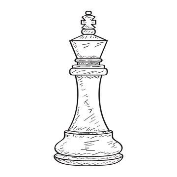 Retro sketch of a king chess piece