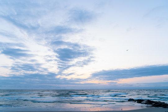 Beach Sunrise Landscape with Ocean Waves