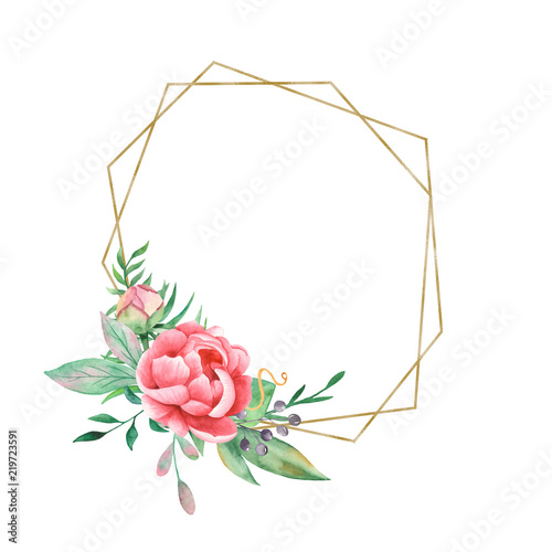 watercolor flowers of peonies and a golden geometric frame flower