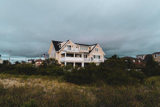 Beach House Behind Grassy Sandy Dunes at Wildwood New Jersey Beach