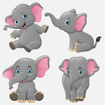 Cartoon funny elephants collection set