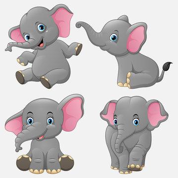 Cartoon funny elephants collection set