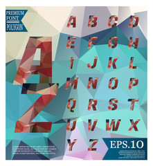 Font lowpoly on abstract background low poly textured triangle shapes in random pattern design