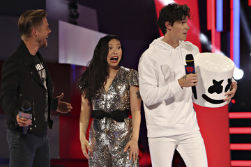 Awkwafina reacts to Shawn Mendes in a Marshmello costume at the iHeartRadio MuchMusic Video Awards (MMVA) in Toronto