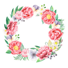 Watercolor wreath of flowers of peonies, anemones, pansies. Flower arrangement for invitations, weddings, cards, greeting cards.