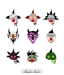 Holidays And Celebrations, Illustration Set of Devils, Monsters and Clowns Masks For Halloween Celebration Party.