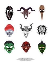 Holidays And Celebrations, Illustration Set of Demon, Monsters and Devil Masks For Halloween Celebration Party.