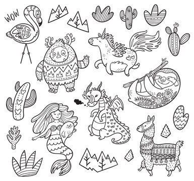 Set with Yeti, unicorn, dragon, mermaid, llama and sloth in outline. Cartoon vector illustration