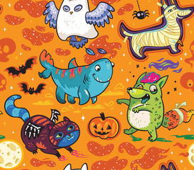 Vector surface pattern with cute cartoon animals. Hand drawn illustration