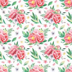 Watercolor seamless pattern of flowers of peonies, leaves, petals, anemones. Flower composition for invitations, weddings, greeting cards, wallpapers, packaging, scrapbooking.