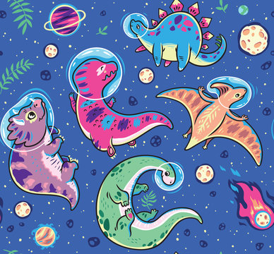 Seamless pattern with funny cartoon dinosaur astronauts isolated on blue background. Vector illustration