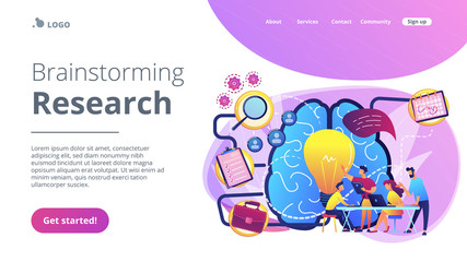 Business team working on project. Project management, business analysis and planning, brainstorming and research, consulting and motivation concept, violet palette. Vector landing page illustration.