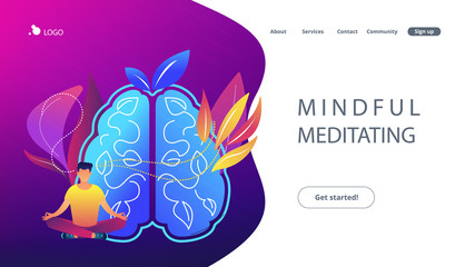 User practicing mindfulness meditation in lotus pose. Mindful meditating concept landing page. Calmness and releasing stress, consciousness and focusing. Vector illustration on ultraviolet background.