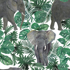 Watercolor painting seamless pattern with elephants ang green tropical leaves, Jungle background