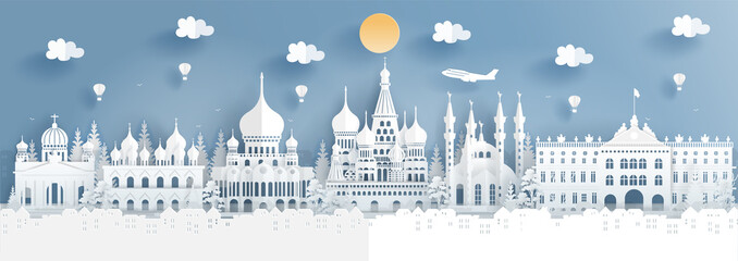 Fototapete - Panorama travel poster of top world famous symbol of Russia in paper cut style vector illustration.