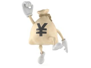 Yen money bag character jumping in joy