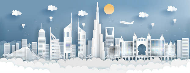Fototapete - Panorama of top world famous landmark of Dubai for travel poster and postcard, in paper cut style vector illustration.