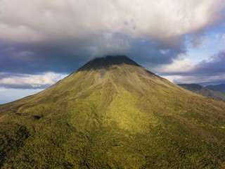 Beautiful cinematic aerial view of the Arenal Volcano in Costa Rica