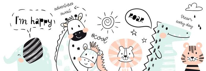 Lion, giraffe, elephant, crocodile, zebra, tiger baby cute print. Happy, roar, cool text slogan.