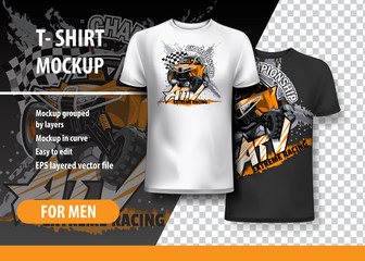 T-Shirt template, fully editable with Orange ATV Off-Road Buggy. EPS 10 Vector Illustration.