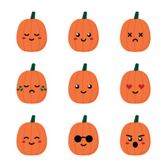 Set, collection of cute cartoon style pimpkin emoji, facial expressions for autumn and Halloween design.