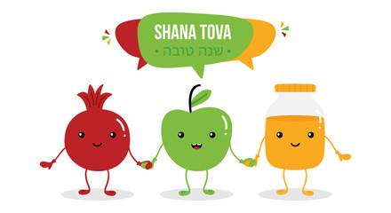 Shana Tova vector greeting card with cute cartoon characters jar of honey, pomegranate and apple for Rosh Hashanah, jewish new year, traditional holiday.